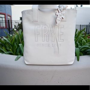 Carson Perforated Logo Leather Tote Bag